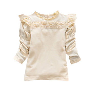 Pretty Girls Kids Baby Long Sleeve Lace Ruffled Collar Cotton Shirts Tops 0-4Y NW