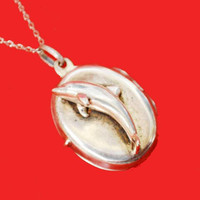 Sterling silver - Locket - Dolphin  - Necklace -sea life -Italy 925 - Dolphin Necklace