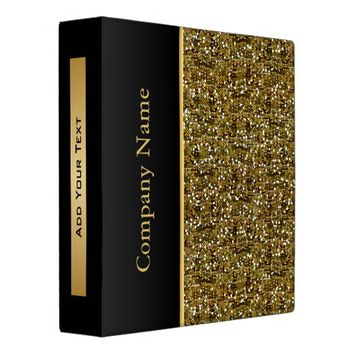 Gold Confetti Glitter with Gold Accents Vinyl Binders