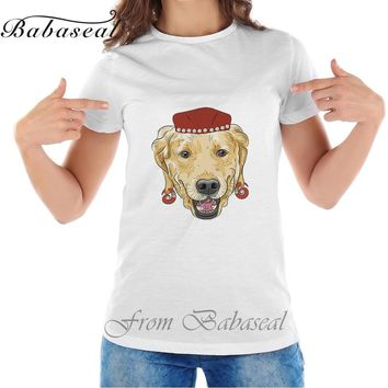 Babaseal Top Brand Vintage T-shirt Batwing American Flag Shirt Mermaid Vector Funny Cartoon Hipster Dog Labrador Retriever Tops