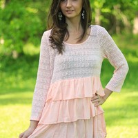 Entro Peach Knit Tunic with Tiered Ruffles