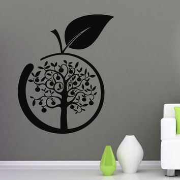 Wall Decals Vinyl Decal Sticker Art Murals Kitchen Decor Apple Tree Design Kj578