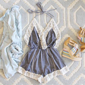 Whiskey & Rye Romper in Chambray