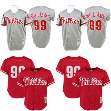 Men's 1993 Philadelphia Phillies Mitch Williams Mitchell & Ness Gray red Road Authentic Throwback Jersey