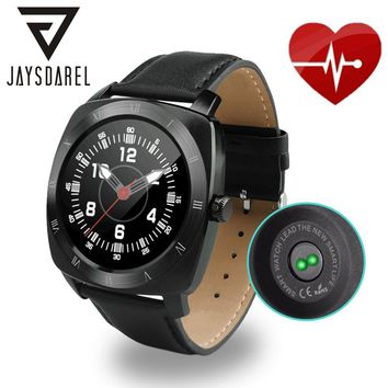 JAYSDAREL DM88 Heart Rate Monitor Smart Watch Leather Strap Voice Control Remote Camera Pedometer Bluetooth Smartwatch Phone