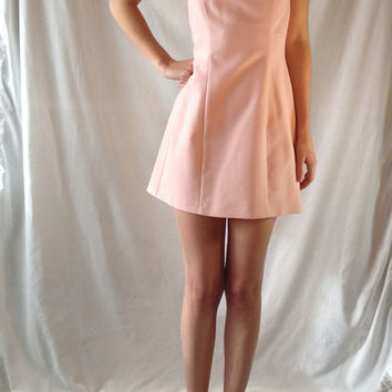 Vintage 60s Throwback Pink Halter Mini Dress, Circa 1990 (Small/Indie Brands)