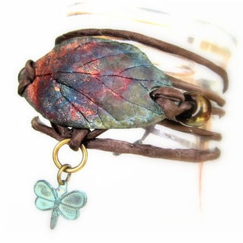 Silk Wrap Bracelet Copper Raku Pottery Beaded Leaf Charm Bracelet - Handmade in US - Copper Metallic Ceramic Jewelry