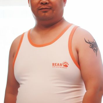 Bear Paw Claw High Quality Cotton Plus Size Men's Undershirt  Gay Underwear Wrestling Singlet Vest Designed For Bear L XL XXL