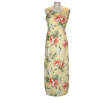 Ky's Yellow 100% Cotton Womens Tank Aloha Dress with White Orchids and Red Hibiscus
