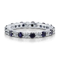 Sterling Silver Simulated Blue Sapphire CZ Eternity Band Ring5 Review(s) | Write A ReviewSKU# R845-SP
