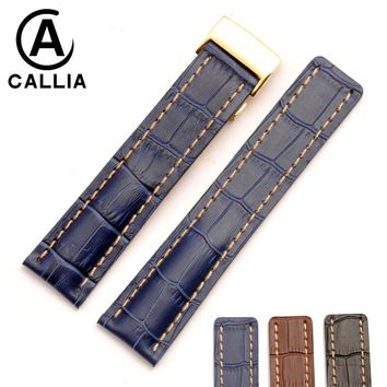 Genuine Calf Hide Leather Watch Band For navitimer/avenger Watchband 22mm 24mm blue Black Brown watch bracelets+TOOL