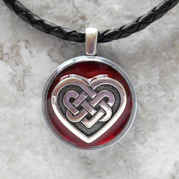 celtic heart necklace: wine - heart jewelry - triquetra necklace - celtic jewelry - unique gift - celtic knot - valentines day - love