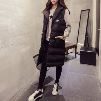 adidas women fashion solid color sleeveless middle long section tailored collar cotton padded clothes vest jacket coat