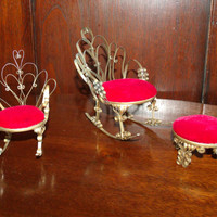 Vintage Tramp Art 3 pieces Miniature Rocking Chairs & Ottoman