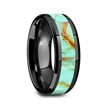 Ceramic Black Wedding Band Light Blue Turquoise Stone Inlay Beveled Polished Finish - 8mm