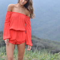 Maya Off The Shoulder Romper in Red