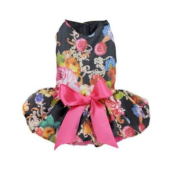 DCCKH6B Dog Dress Pets Dogs Puppy Cats Princess Bowknot Floral Dress Pets Costume XS/S/M/L/XL 2016 New Hot