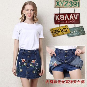 ac PEAPON Denim Dress World Map Summer Embroidery Shorts [10364122828]