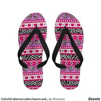 Colorful abstract zebra hearts and dots pattern flip flops