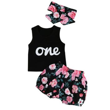 Abacaxi Kids One Floral Outfit 3pcs 6-24M