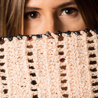 Hand-Knit Woolen Scarf with Crystal Beads and Pearls Crochet on Borders - Free Shipping in US