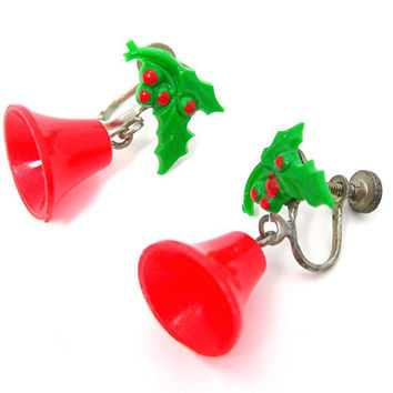 Christmas Bells Earrings, Red Plastic Bells, Holly and Berries, Screwbacks, Vintage 1940-50 Holiday Jewelry, Gift for Her