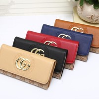 """Gucci"" Women Purse Fashion Multicolor Double GG Logo Button Long Section Three Fold Wallet Handbag"