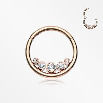 Rose Gold Divinity Sparkle Gems Seamless Clicker Hoop Ring