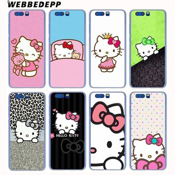 WEBBEDEPP Doraemon And Hello Kitty Hard Case for Huawei Honor Play 10 9 9i 8 Lite 7X 7C 6A 6C 7A Pro