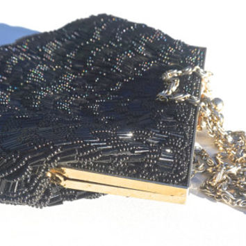 Beaded Evening Bag,Vintage Evening Bag,Black Beaded Bag,Small  Black Bag,Convertible to Clutch,Chain Strap,Vintage Purse,Scalloped Shell Bag