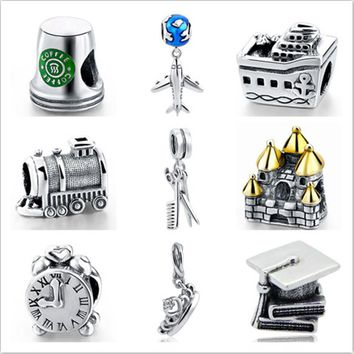Hot sale charms silver 925 original Coffee cup Plane tower beads DIY Pendant Fit pandora Bracelets fashion beads jewelry making