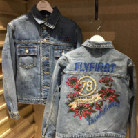 Fashion Embroider Flower Casual Cowboy Coat