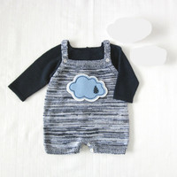 Knitted baby overalls in blended blue with a cloud. Baby boy. Baby girl.100% wool. READY TO SHIP size 1-3 months.
