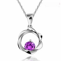 925 Sterling Silver Waves Circle Color Crystal Necklace