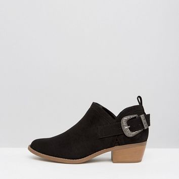 New Look Western Suedette Low Ankle Boot at asos.com