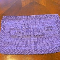Handy Hand Knit Perfectly Purple Golf Picture Dish or Wash Cloth