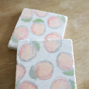 Peach marble coaster set