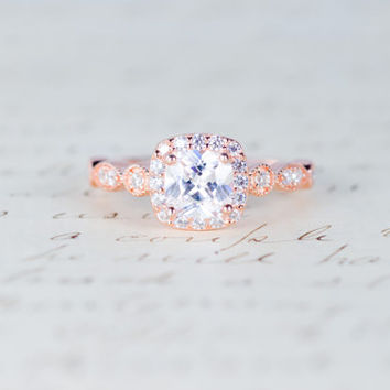 Rose Gold Engagement Ring - Cushion Cut Halo Ring - Art Deco Ring - Promise Ring - Vintage Ring - Wedding Ring - Sterling Silver