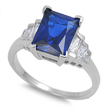 925 Sterling Silver CZ Baguette Sided Rectangular Simulated Sapphire Ring 11MM