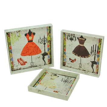 Set of 3 Decorative Vintage-Style Fashion and Dresses Square Wooden Serving Trays