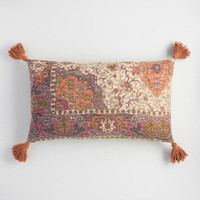 Oversized Orange Vintage Rug Lumbar Pillow