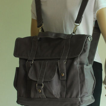 CHRISTMAS SALE - 20% Pico2 Backpack in Wax Dark Grey Unisex / Laptop / Shoulder Bag / Satchel / Rucksack / Messenger Bag / Diaper Bag