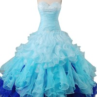Cocomelody Ball Gown Sweetheart Long Organza Beaded Quinceanera Dress Pr2493
