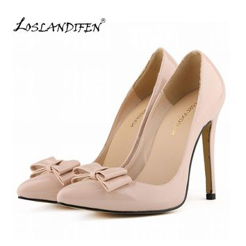 LOSLANDIFEN Fashion Womens Sexy Pointed Toe Patent Leather High Heels Corset Pumps Party Court Shoes US 4-11 302-19PA