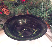 Hand Blown Sparkly Green Footed Glass Bowl - One of a Kind