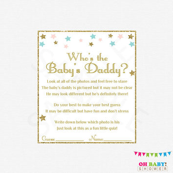 Unique Baby Shower Games, Twinkle Twinkle Little Star Baby Shower, Who's the Baby's Daddy Pink Blue Gold Printable Download Girl Boy STPBG