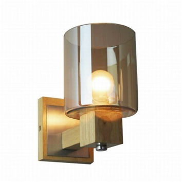 Nordic countryside bedroom wood and glass amber wall lamp light wall sconce