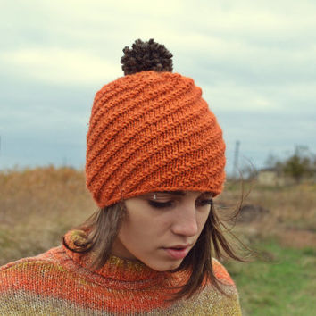 Knit hat - pom pom beanie - winter hat - burnt orange