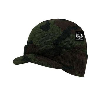 CREYIX5 Acrylic Knitted Winter Jeep Beanie Cap with Visor Woodland Camo