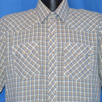 80s Youngbloods Gray Blue White Plaid Pearl Snap Shirt Large